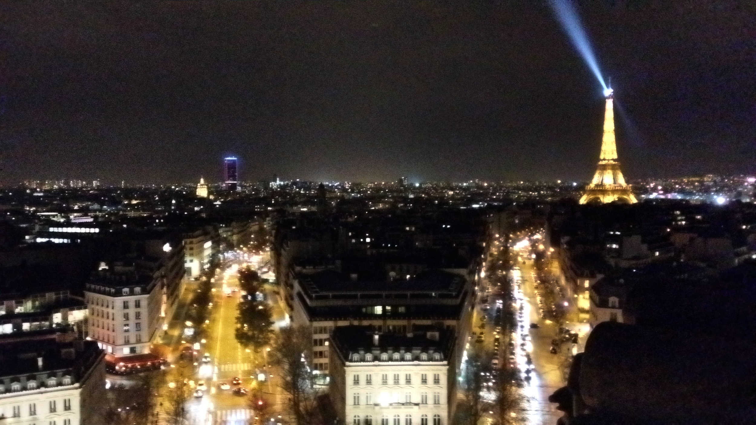 The view of the City of Lights from the top of the Arche de Triomphe.