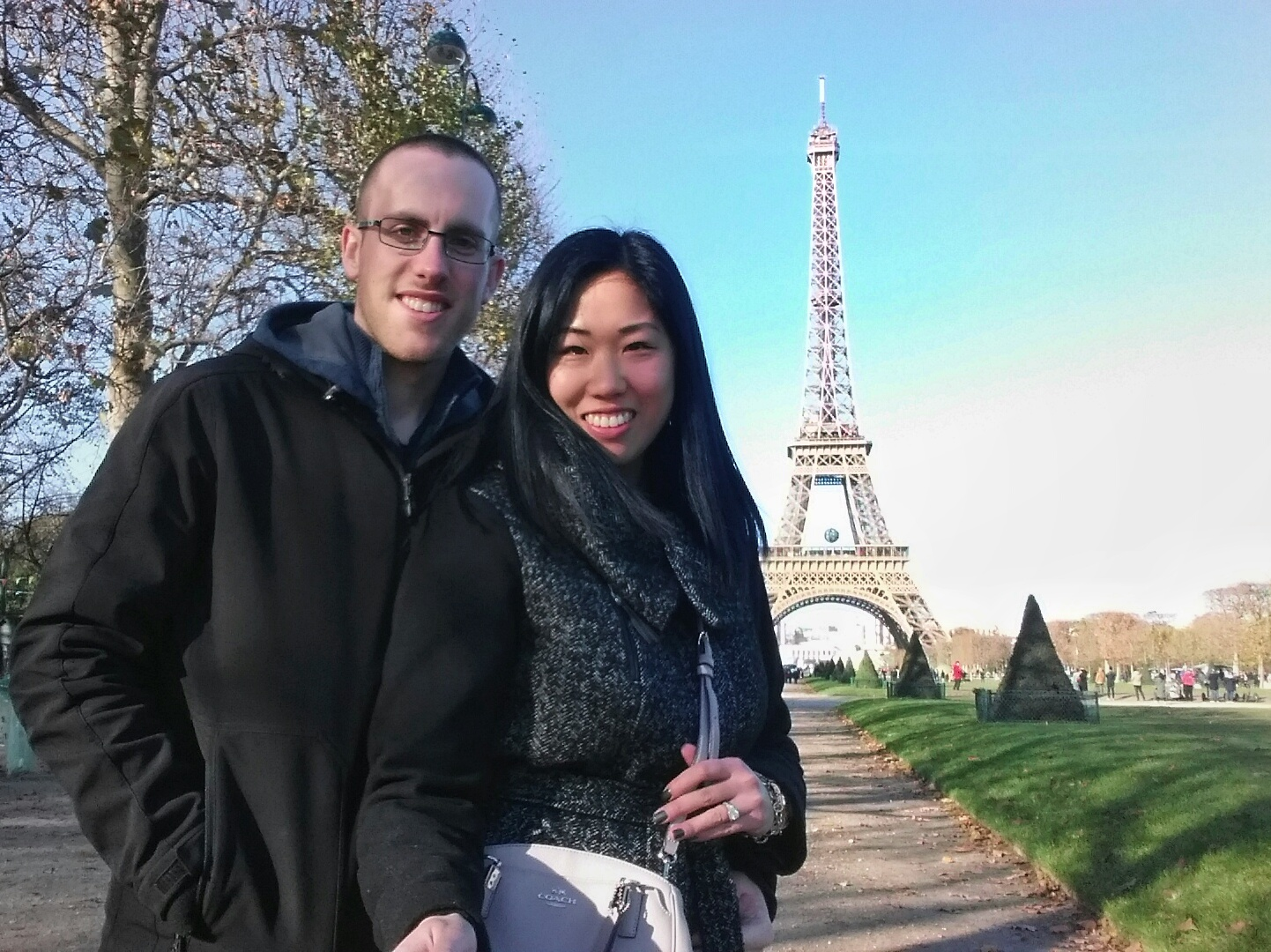 Matt and Aimee in front of Eiffel Tower in Paris, France