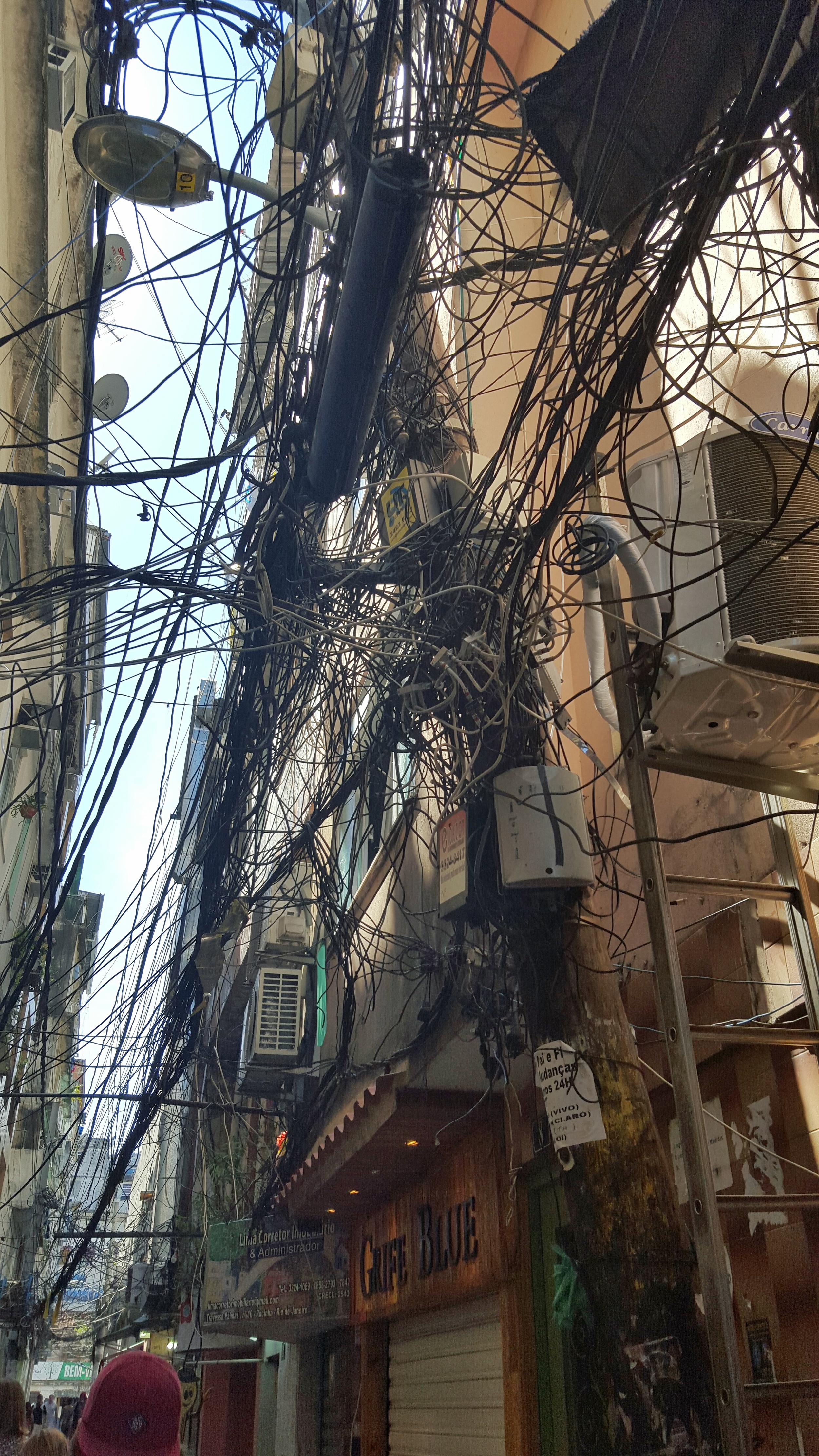 Shared electrical wires in a favela in Rio de Janeiro