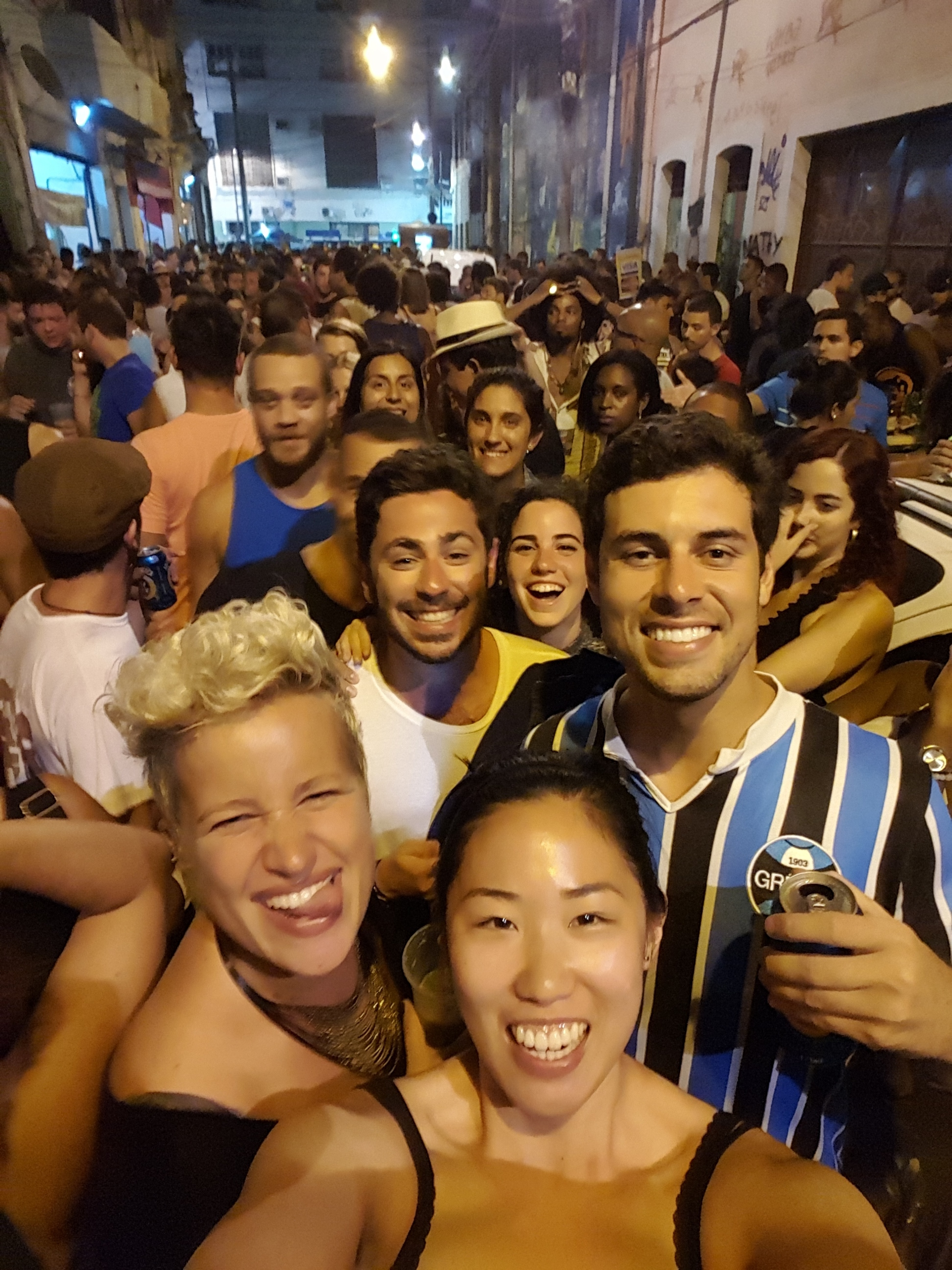 Crowded streets of Centro during Samba Party