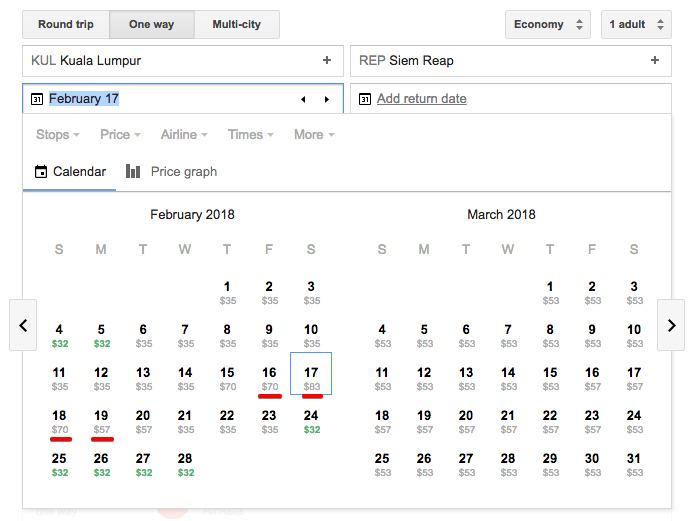 Google flights shows prices per date on an interactive calendar