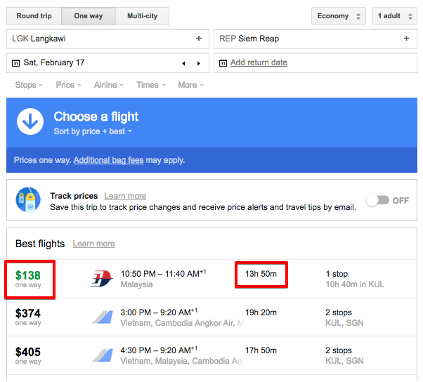 Google flights shows prices from Langkawi to Siem Reap