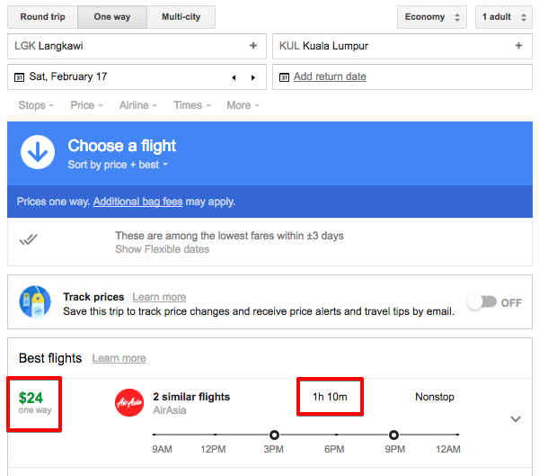 Google Flights shows prices from Langkawi to Kuala Lumpur