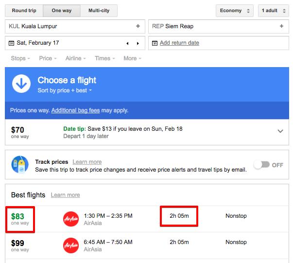 Google Flights prices show Kuala Lumpur to Siem Reap