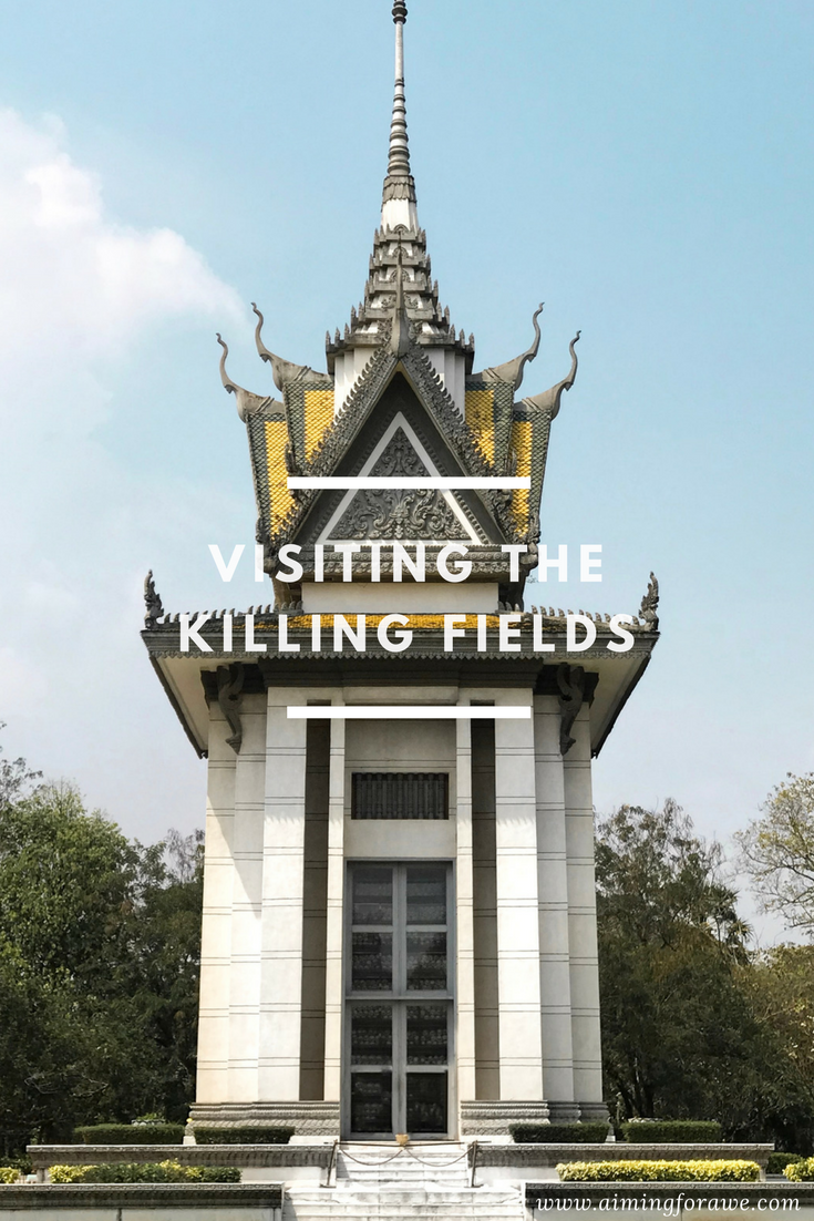 Pretty building eh? Did you notice the skulls lining the windows? It's a Memorial stupa that houses bones that were found at these killing fields.