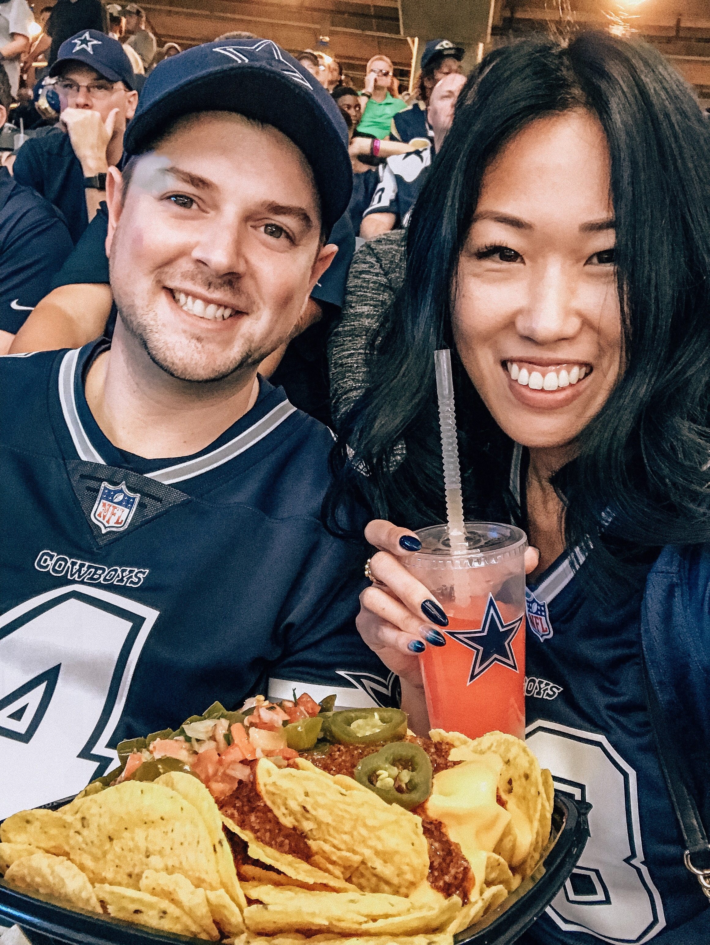 Food and drinks at the Cowboys game
