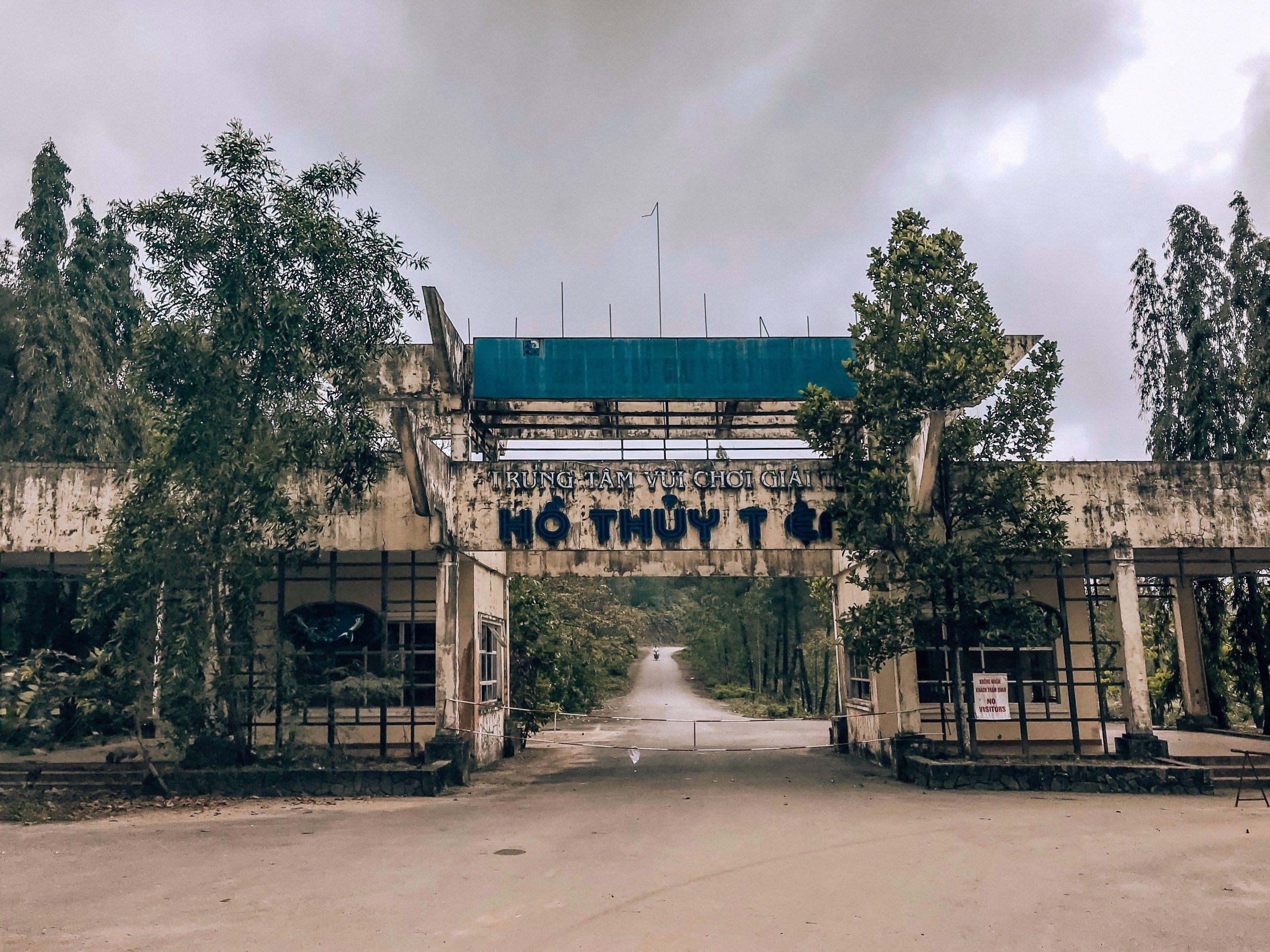 Main gates at front entrance of Ho Thuy Tien (abandoned waterpark) in Hue, Vietnam