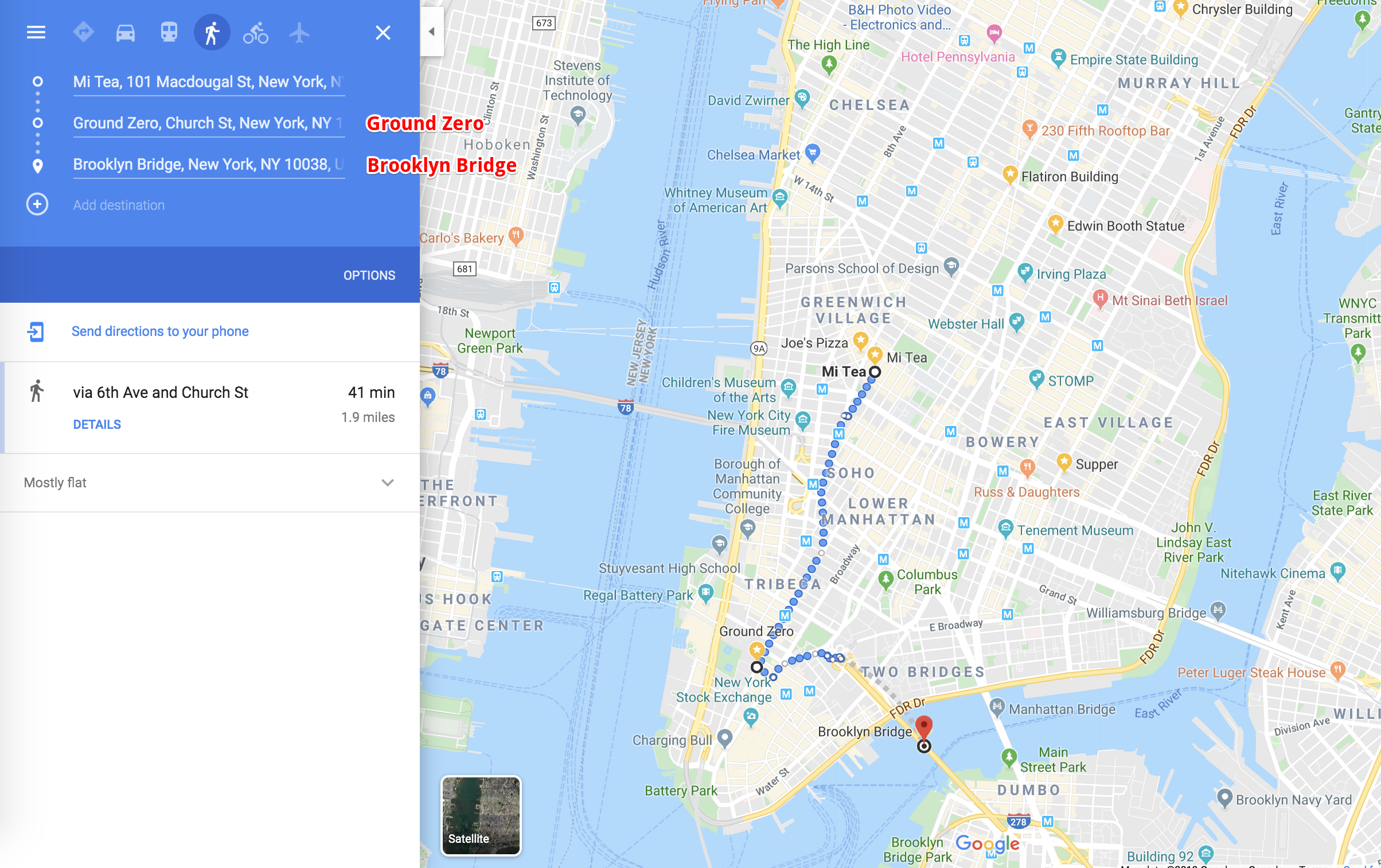 After your little lunch break at Joe's Pizza, continue on and finish off the route at Ground Zero and the Brooklyn Bridge.