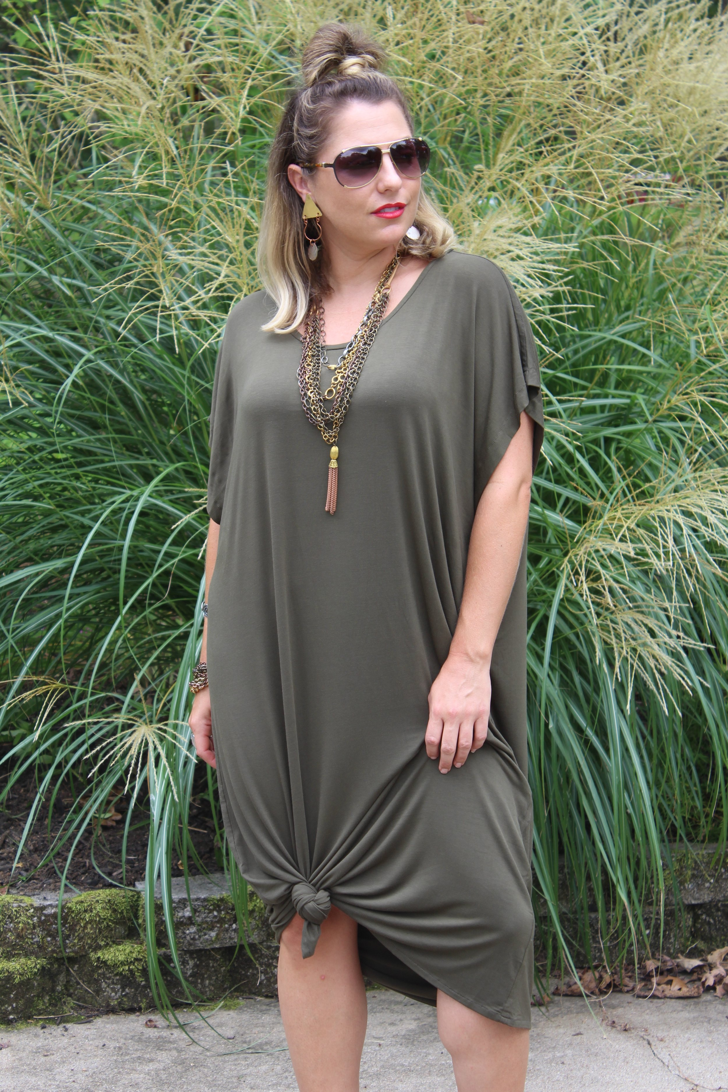 Yana K pieces are great for tying up in the middle or on the sides to give it interest or change the shape of the piece!