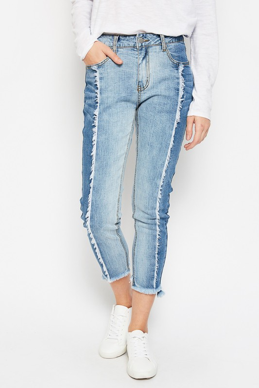 Two Tone Frayed Jeans