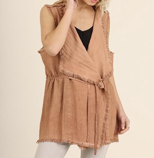 Terracotta Wrap Front Vest with Frayed Hem