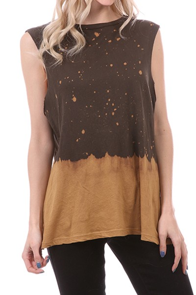 Charcoal and Toffee Tie Dye Muscle Tank