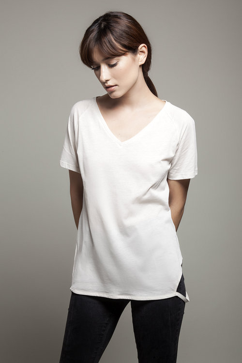 Beige V-Neck Tee Shirt with Cut Sides