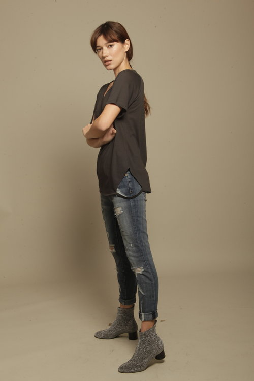 Charcoal V-Neck Tee with Cut Sides