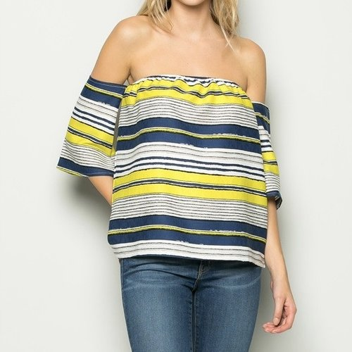 Stripe Off Shoulder Top  pairs well with our favorite  skinny frayed jeans  or  soft wide leg pant  and perforated navy suede sneakers.