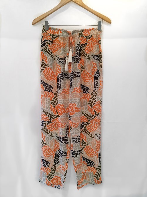 Fugi Stone Pant  is a must have print when worn with our  terracotta frayed hem vest  and a  simple white tank.
