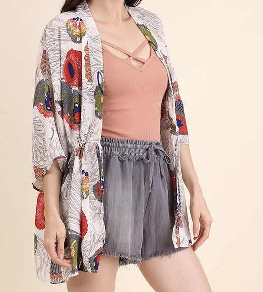 Lightweight and versatile  printed kimono. ..ideal with shorts or jeans.