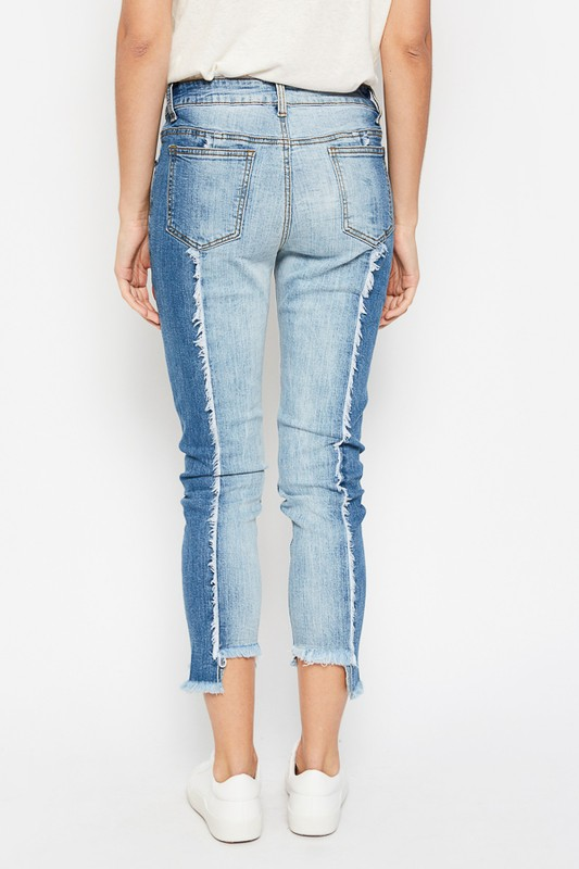 Back image of Two Toned Frayed Jeans.