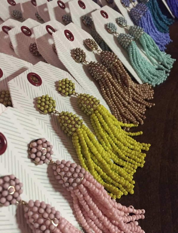 Multi Coloered Beaded Tassel Earrings $32