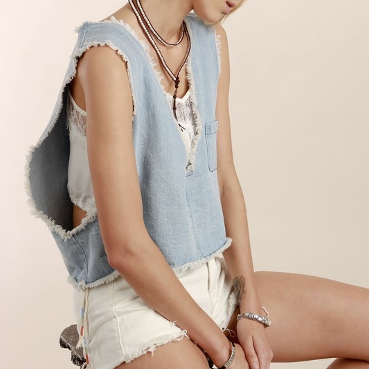 Denim Crop Vest  $35