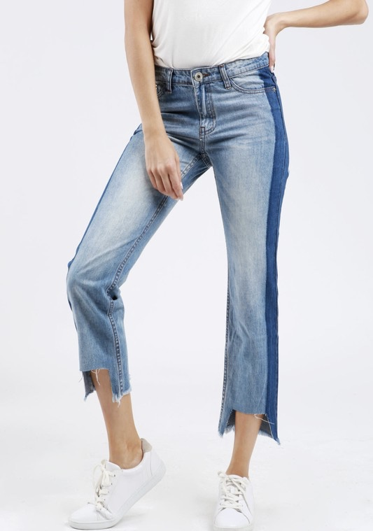 Two toned cropped jeans/uneven hem