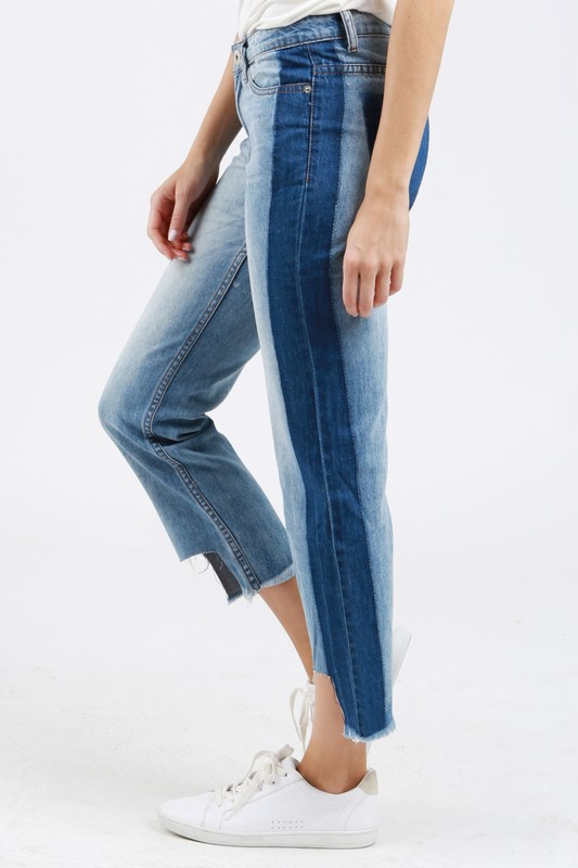 Two toned cropped jeans/uneven hem.