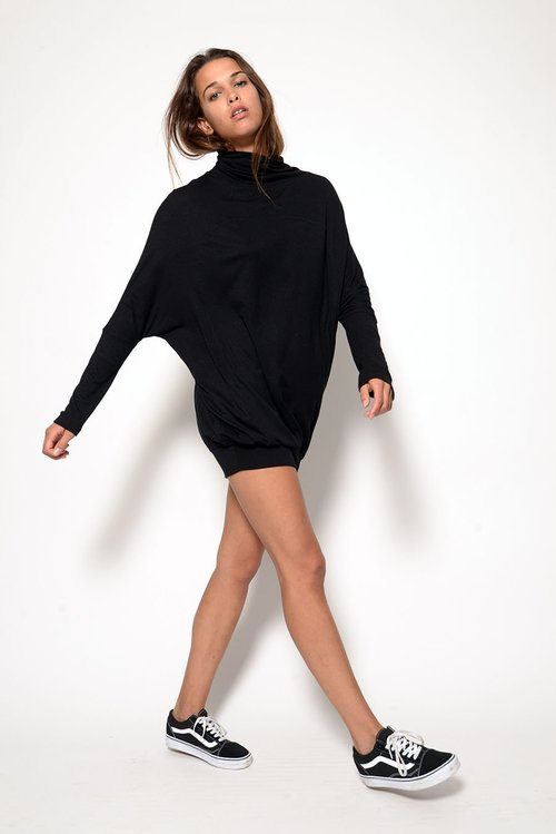 Brooklyn Tunic/Dress  worn casual here but  looks awesome with one of our Mongolian Lamb Infinity Scarfs and OTK Suede Boots....  SO HIP AND CHIC TO WEAR TO A NIGHTCLUB AFTER YOU HAVE HOSTED A PARTY!!!!