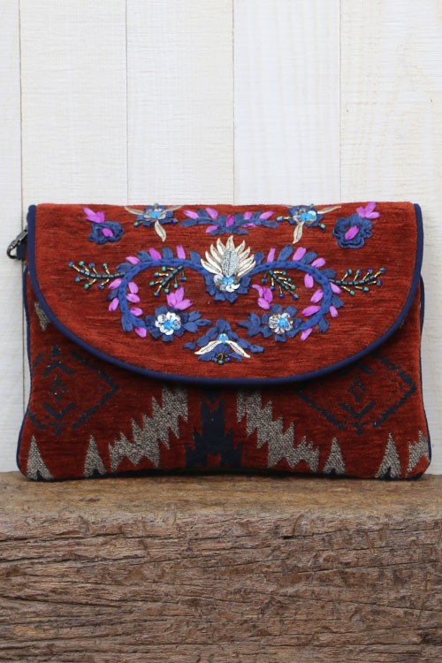 Gypsy Soul Velvet Purse .... this cute, embroidered and sequined clutch will add a lot of PIZZAZZ AND STYLE TO ANY OF YOUR HOLIDAY ATTIRE.