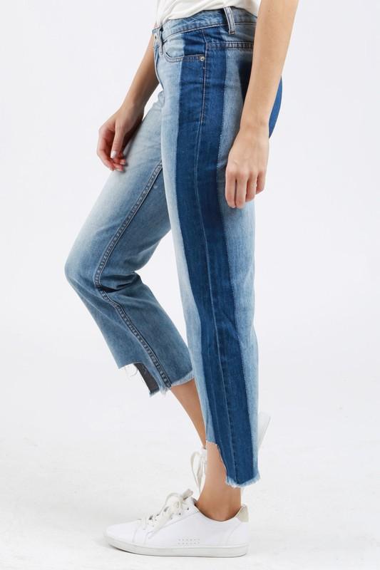 Two Tone Crop Denim Jean