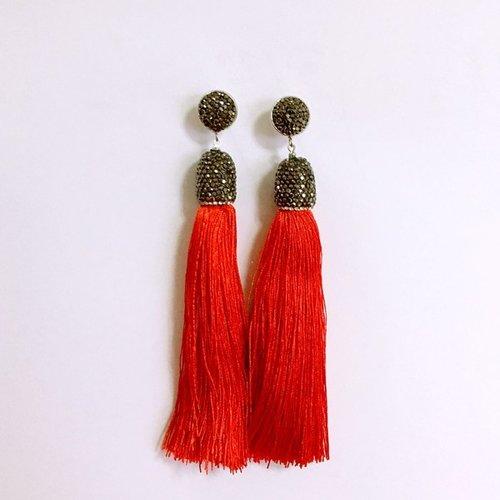 Pave Crystal Tassel Earrings