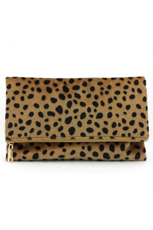 Leopard Fold Over Clutch