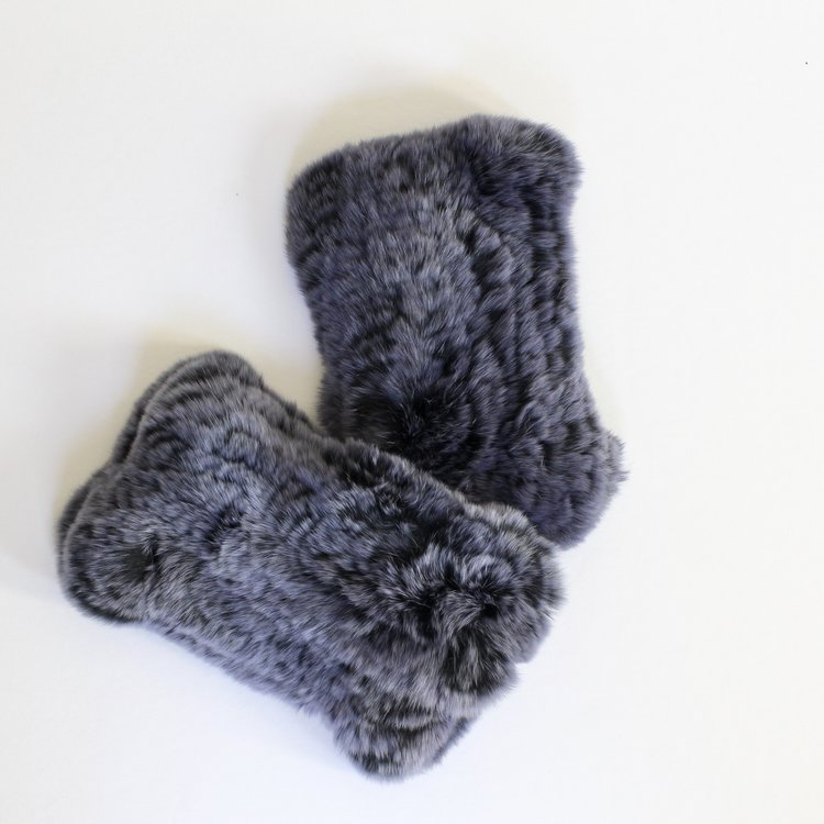 Indigo Ink fingerless fur gloves