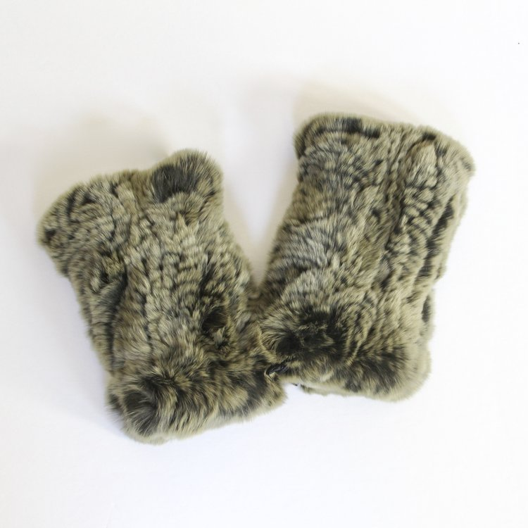 Olive fingerless fur gloves