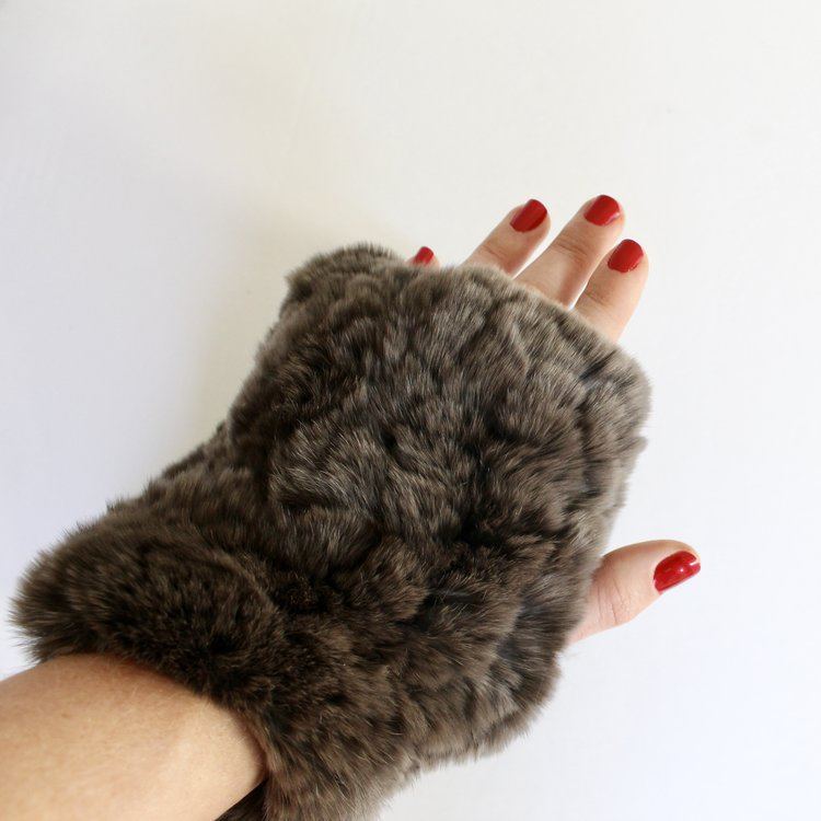 Charcoal brown fingerless fur gloves