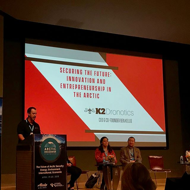 It was amazing being a part of the @arcticencountersymposium this week! Ben (@northroadben) spoke to the crowd on deploying tech across rural Alaska and deploying Alaskan mentality to aerospace clients in the Lower 48!