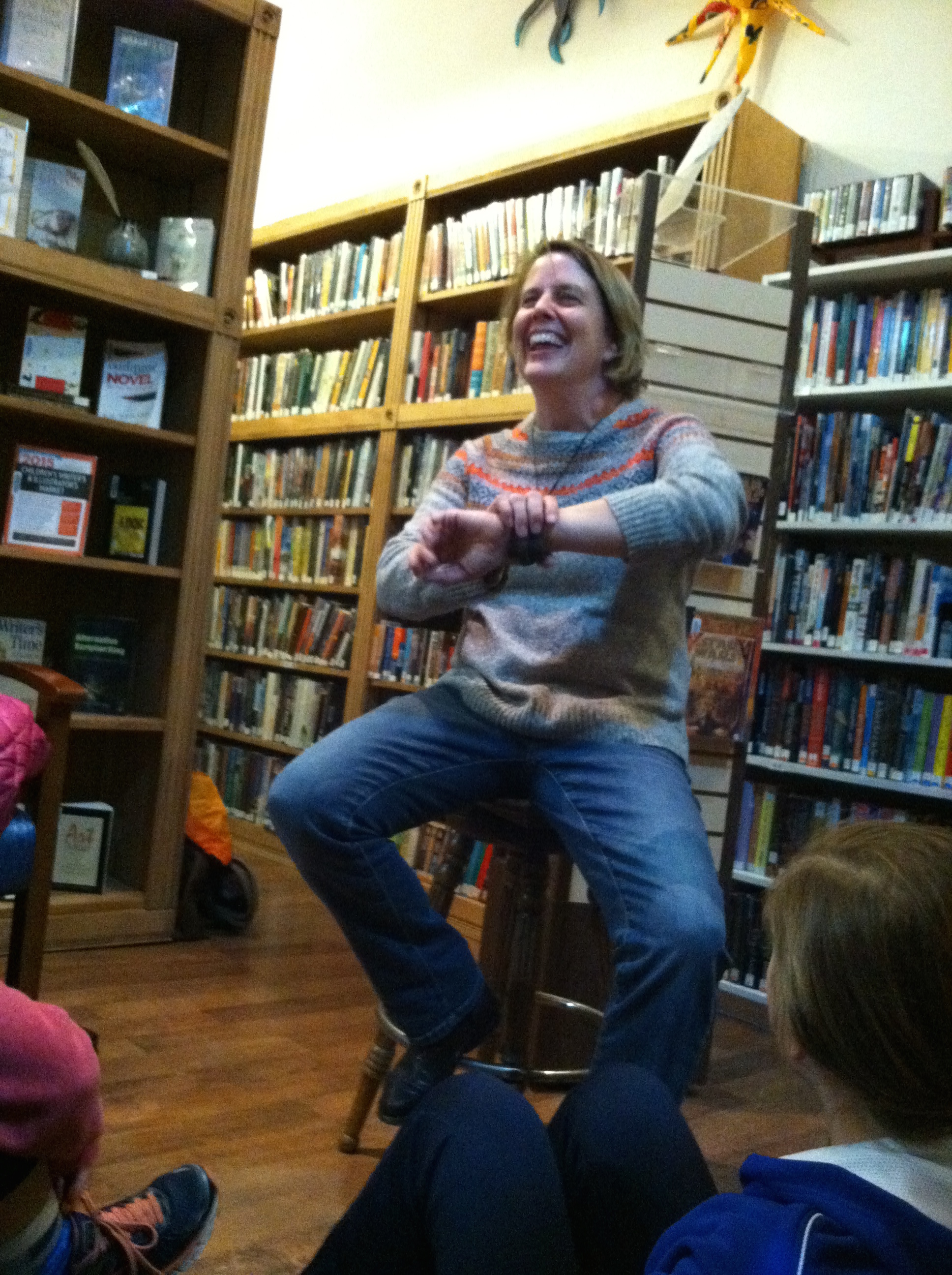There was a lot of heckling of the author, which I expected. (photo credit Alison Jennings)