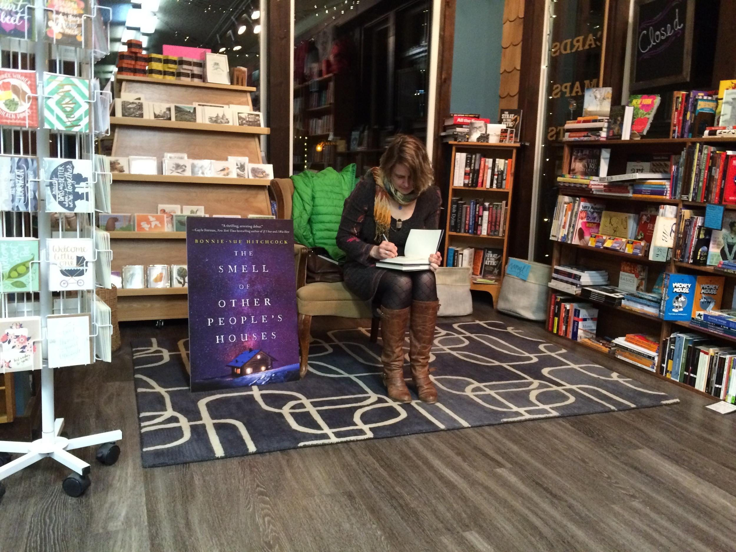 Signing at Old Harbor Books (Photo: Loren Waxman)