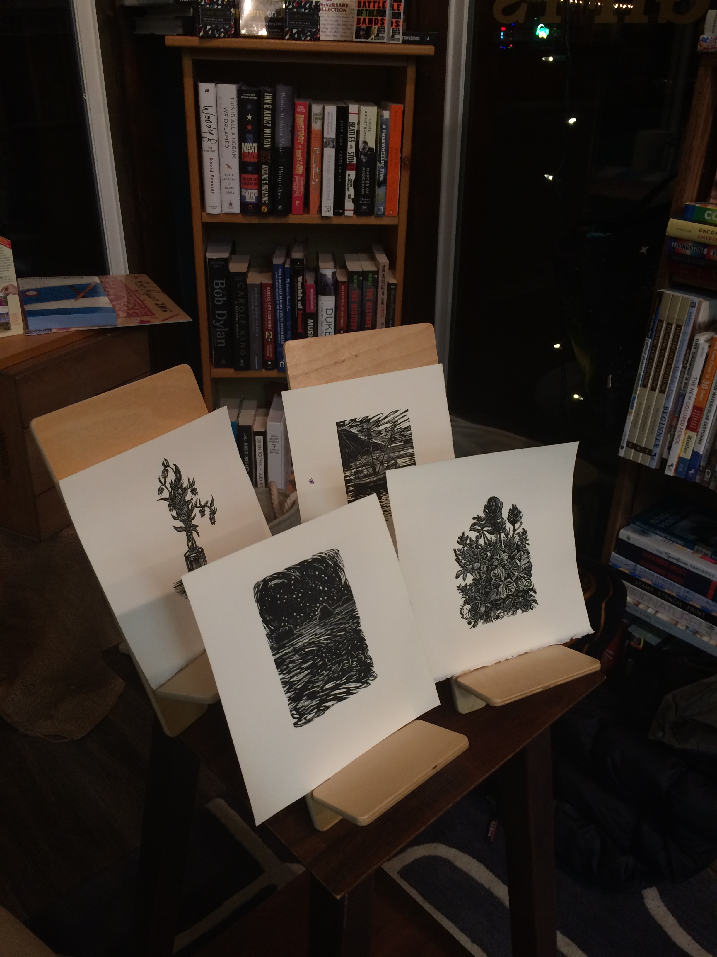 Rebecca Poulson's Wood engravings that appear in the book. (Photo: Loren Waxman)