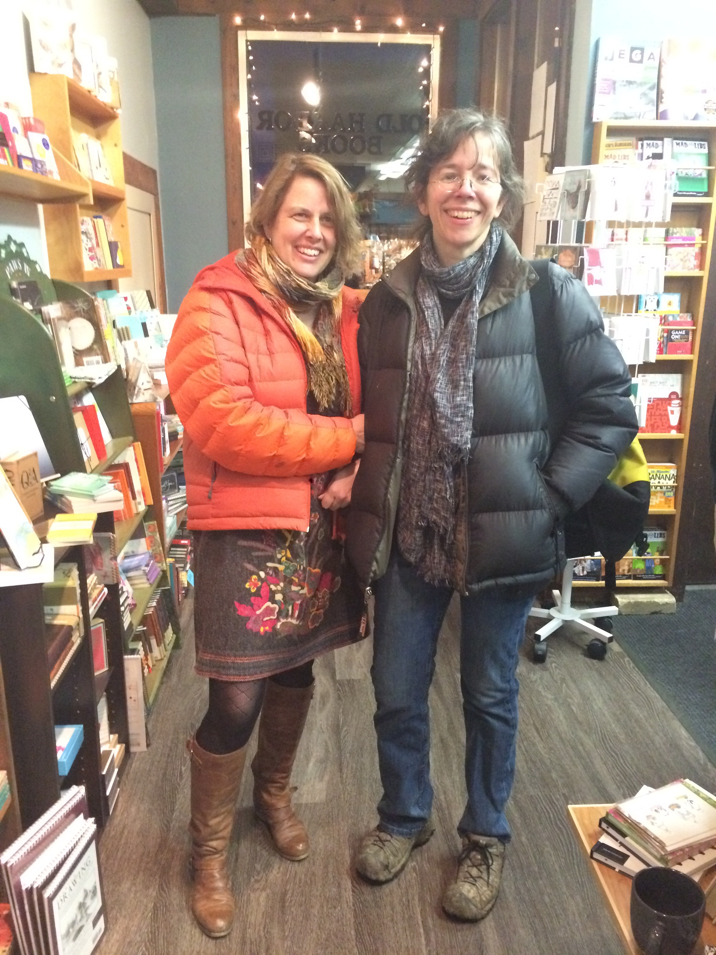 Me and Artist Rebecca Poulson, whose wood engravings are featured in The Smell of Other People's Houses. (Photo: Loren Waxman)