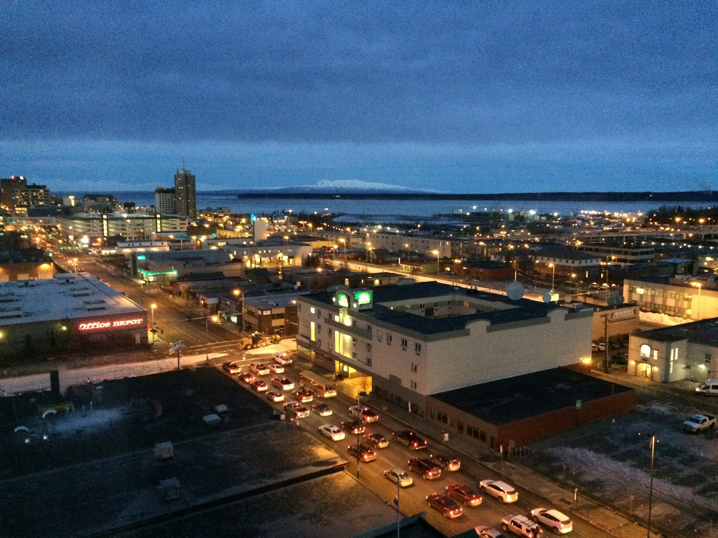 A snowless Anchorage Alaska, being watched over by Sleeping Lady in the distance. Photo taken from the Sheraton Hotel. (Fun fact: My high school prom was held at the Sheraton)