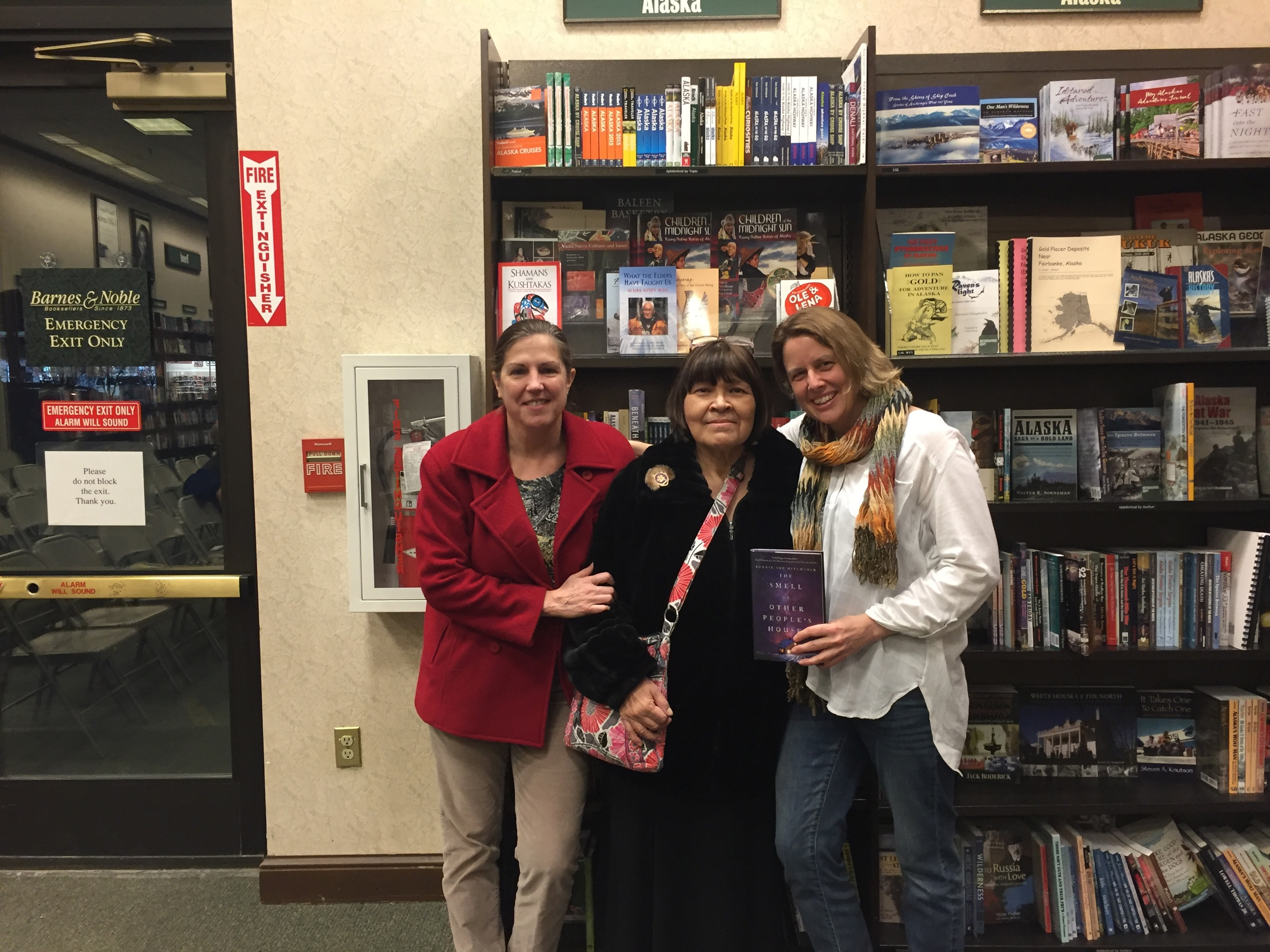 With Lori Townsend and Nellie Moore in the Alaska section at Barnes and Noble. Lori is the News Director at Alaska Public Media. (Photo: Barnes and Noble staff)