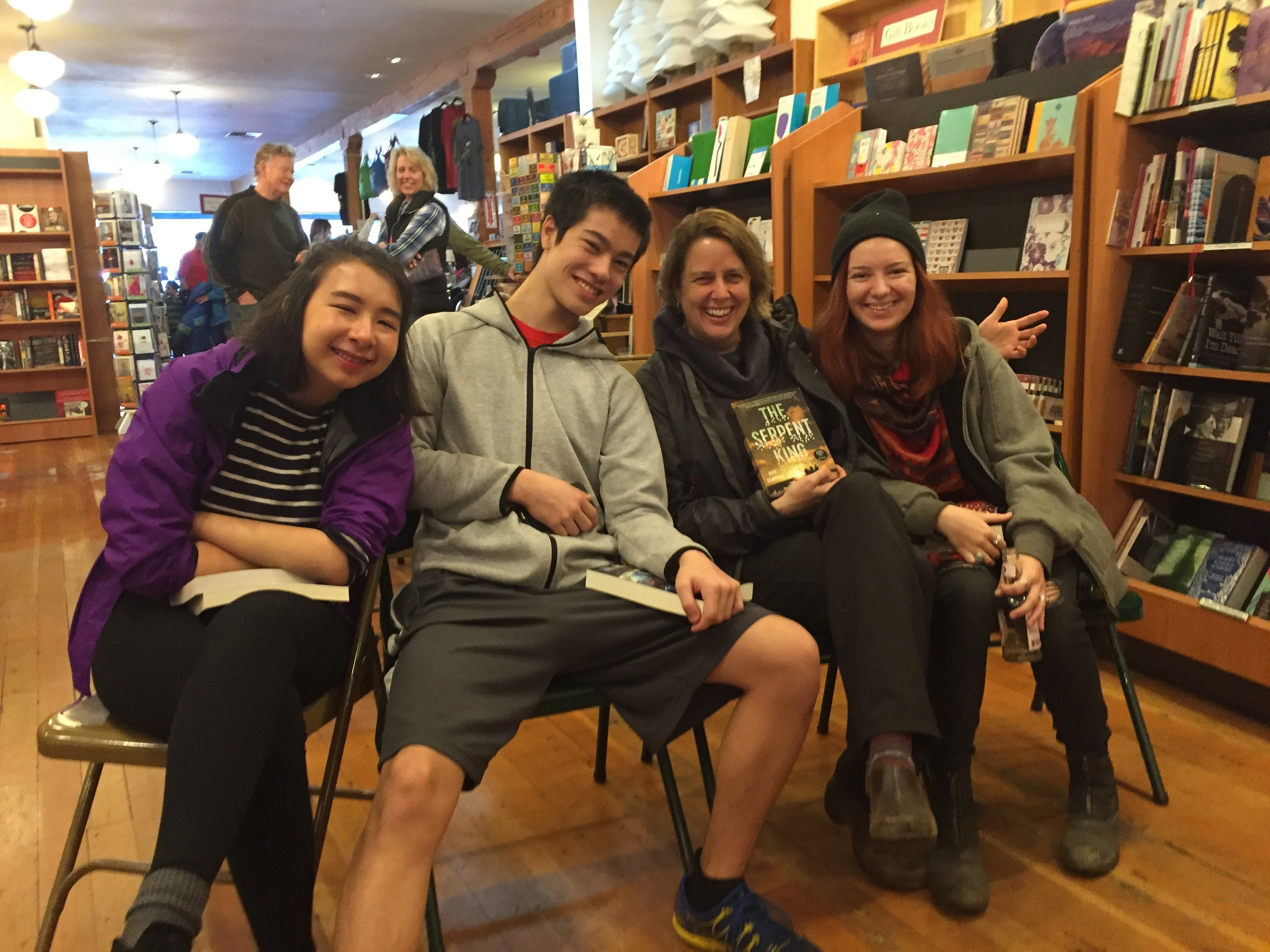 The Teen Advisory Board at Eagle Harbor Book Co.in Winslow, WA. And me giving a little shout out to  The Serpent King, by Jeff Zentner. (Photo Credit: Victoria Irwin)