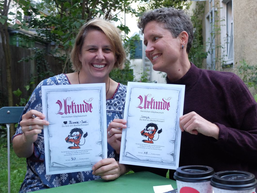 "We were very proud of our honorary certificates awarded to us by the ""Bucherfresser"" (Book Eaters) teen reading group at Buchpalast. (Photo courtesy of Buchpalast)"