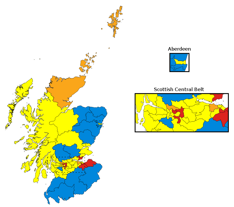 Despite the Scottish flag being blue, it is not a colour we see often on this map