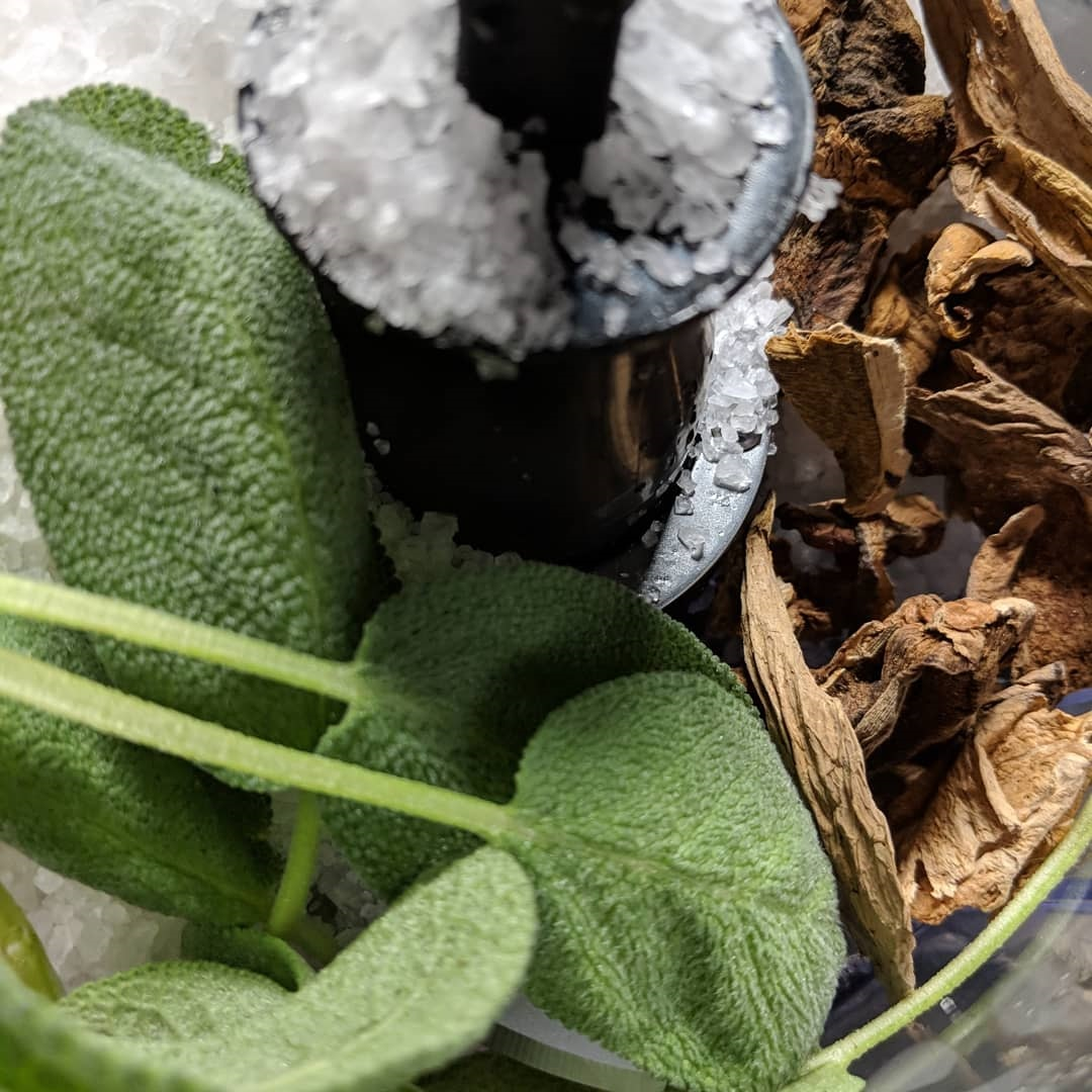 Sage and Porcini Salt in the making