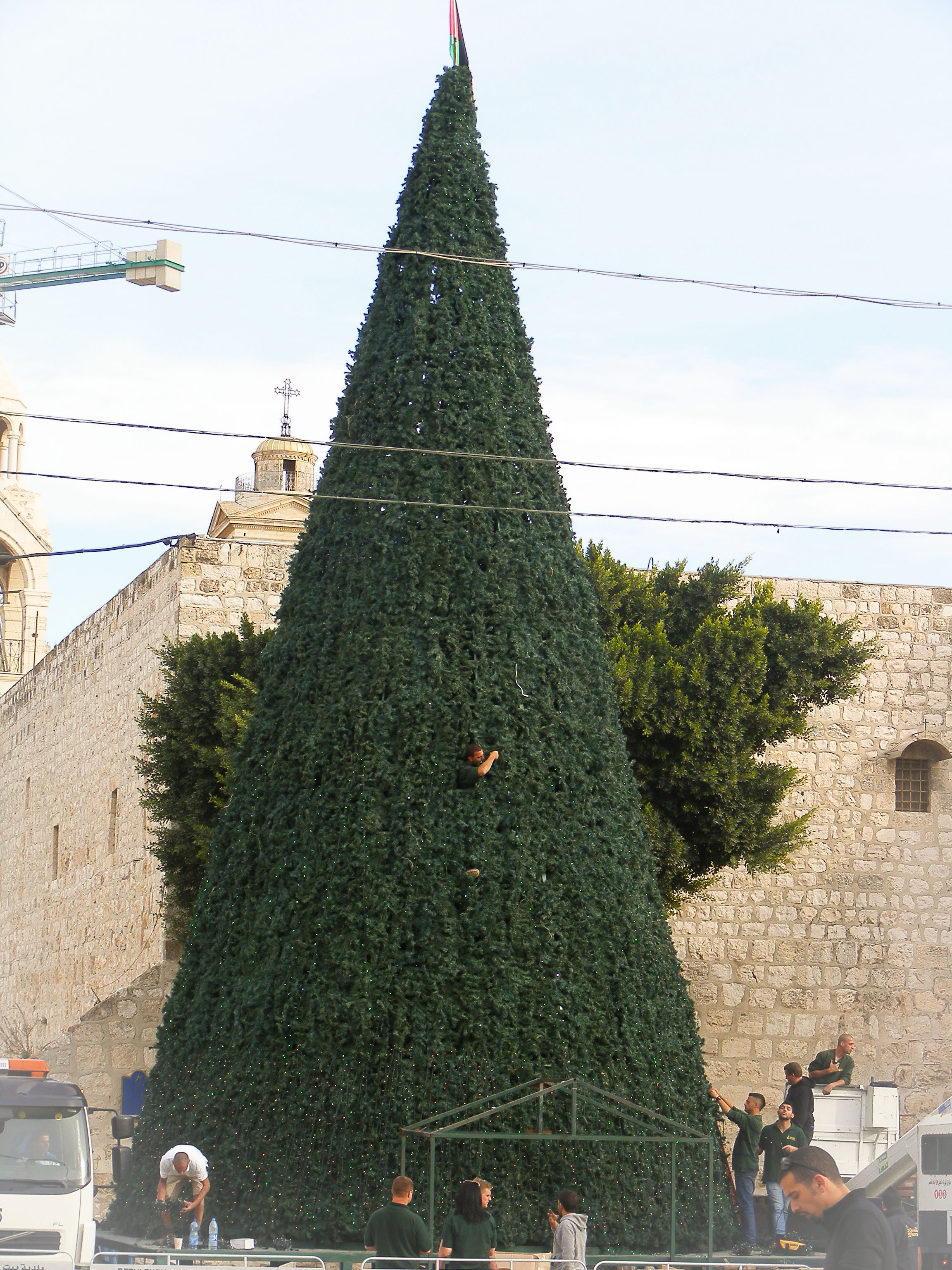 Preparation of the Christmas tree in Manger Square, Bethlehem. Church of the Nativity in the background.