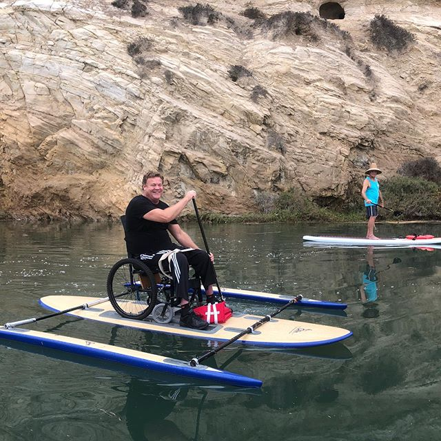 Be sure to join us today from 9am—12noon at the @newportaquaticcenter for some adaptive paddle boarding #pushing4independence #motofam #adaptivepaddleboarding #adap #sup #qbpaddles #newportaquaticcenter