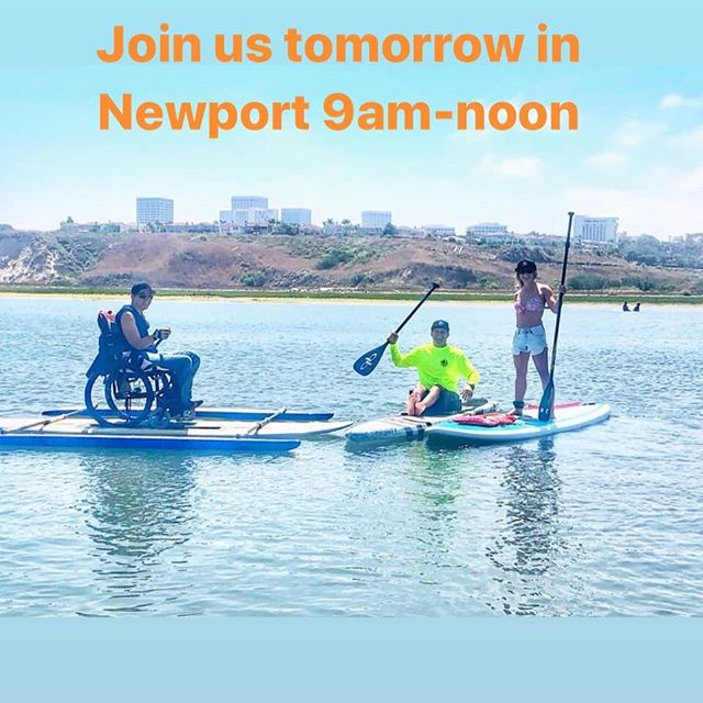 Hey everyone! Don't forget adaptive paddling tomorrow in Newport 9am-noon at the @newportaquaticcenter. Come have some fun on the water with us 🤙#pushing4independence #adaptivepaddleboarding #newportaquaticcenter #qbpaddles