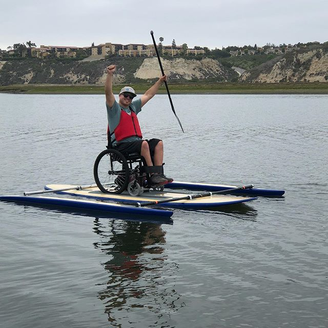 Be sure to join us next Wednesday for some fun on the water! Adaptive paddling at the @newportaquaticcenter from 9am-12noon. #pushing4independence #adaptivepaddling #sup #paddleboarding #qbpaddles #motofam #moodycreekfarms