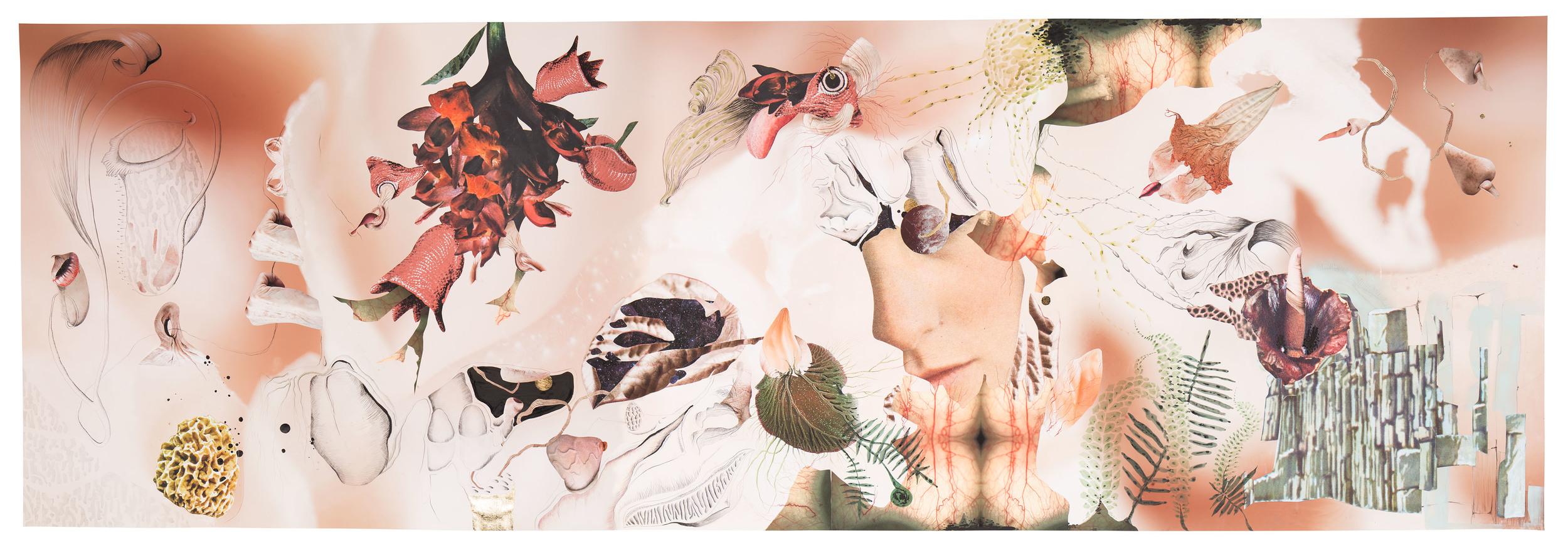 Flora Vulgar   Collage, grafito, tinta, hojilla y aérosol sobre impresión giclée 1.5 x 4.5 mt